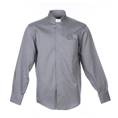 Collarhemd mit Langarm aus leicht zu bügelnden Baumwoll-Polyester-Mischgewebe mit Diagonalmuster in der Farbe Grau 1