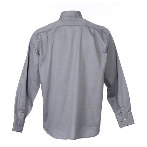 Collarhemd mit Langarm aus leicht zu bügelnden Baumwoll-Polyester-Mischgewebe mit Diagonalmuster in der Farbe Grau 2