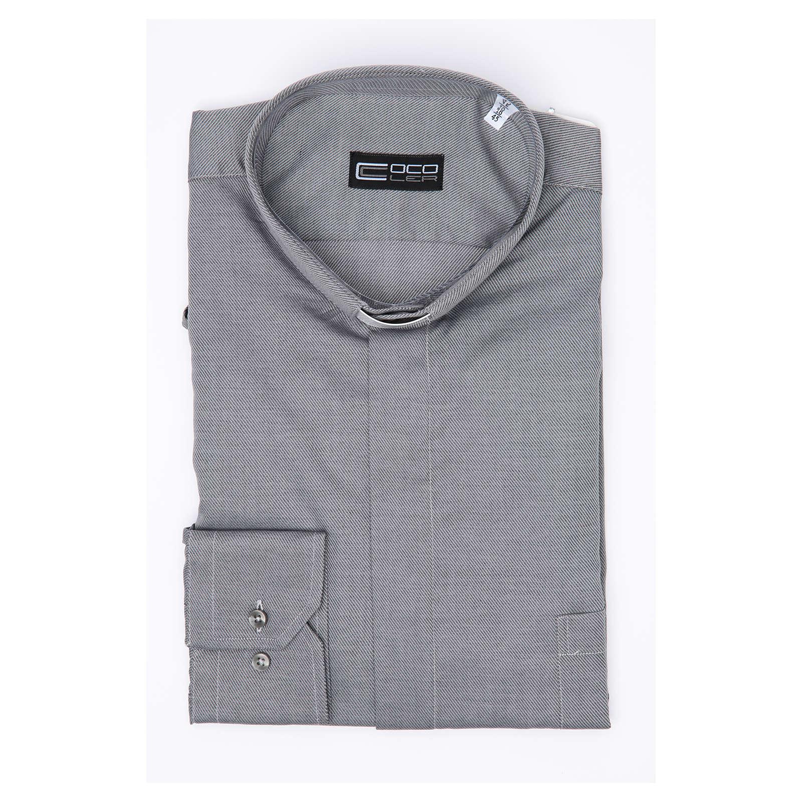Camisa Clergy Manga Larga Planchado Facil Diagonal Mixto Algodón Gris 4
