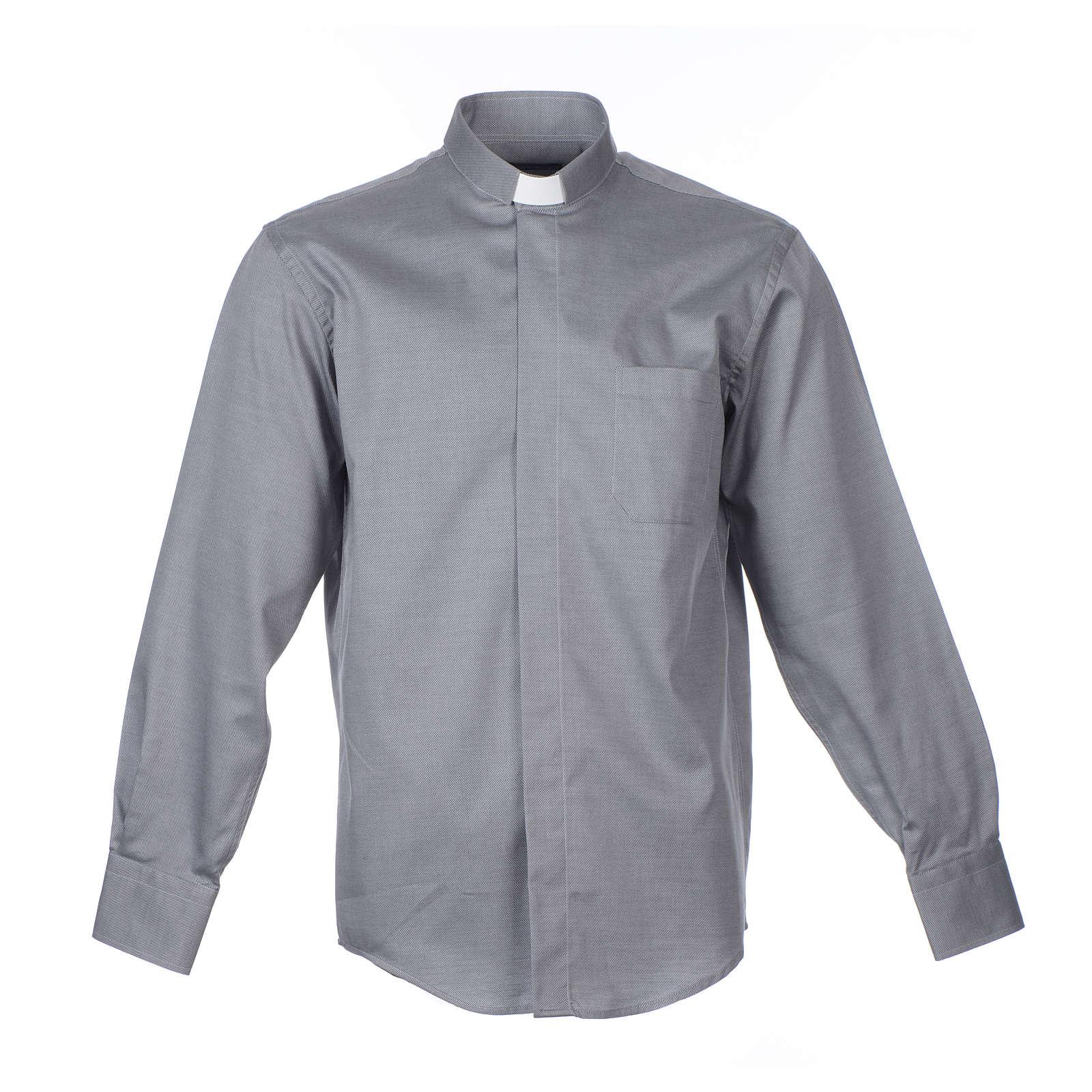 Camicia clergy M. Lunga Facile stiro Diagonale Misto cotone Grigio 4