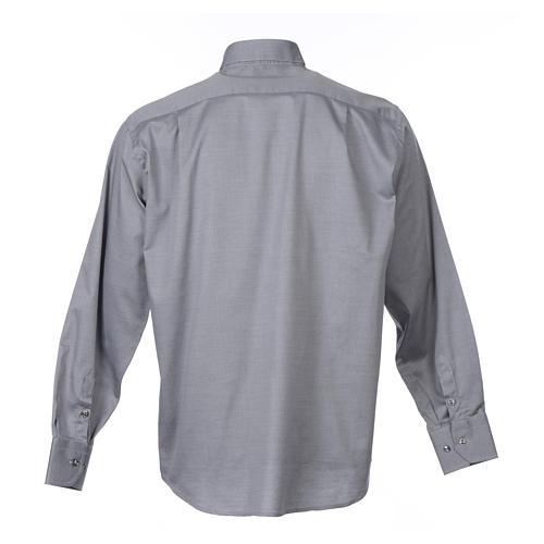 Camisa clergy M/L passo fácil sarja misto algodão cinzento 2
