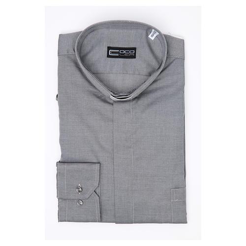 Camisa clergy M/L passo fácil sarja misto algodão cinzento 3