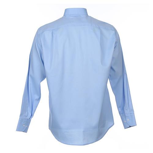 Collarhemd mit Langarm aus leicht zu bügelnden Baumwoll-Polyester-Mischgewebe mit Diagonalmuster in der Farbe Hellblau 2