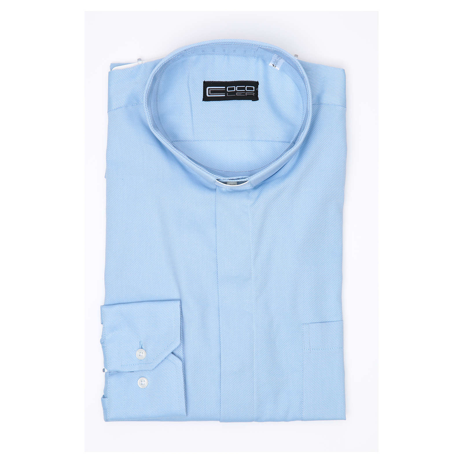 Clergy shirt Long sleeves easy-iron mixed cotton Light Blue 4