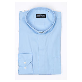 Clergy shirt Long sleeves easy-iron mixed cotton Light Blue s3