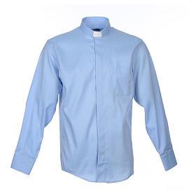 Camisa Clergy Manga Larga Planchado Facil Diagonal Mixto Algodón Celeste s1