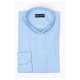 Camisa Clergy Manga Larga Planchado Facil Diagonal Mixto Algodón Celeste s3