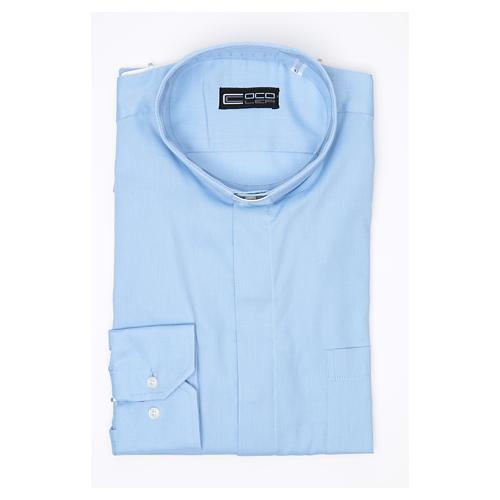 Camisa Clergy Manga Larga Planchado Facil Diagonal Mixto Algodón Celeste 3