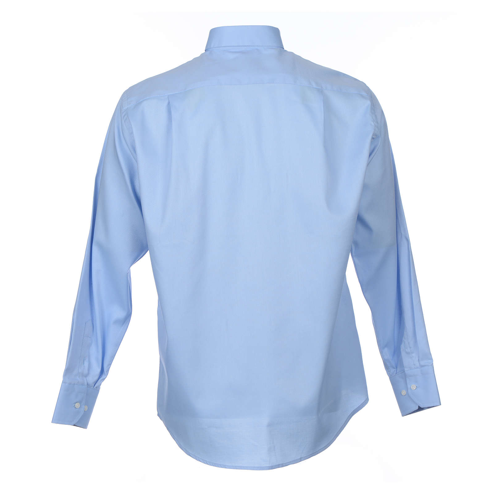 Camicia clergy M. Lunga Facile stiro Diagonale Misto cotone Celeste 4