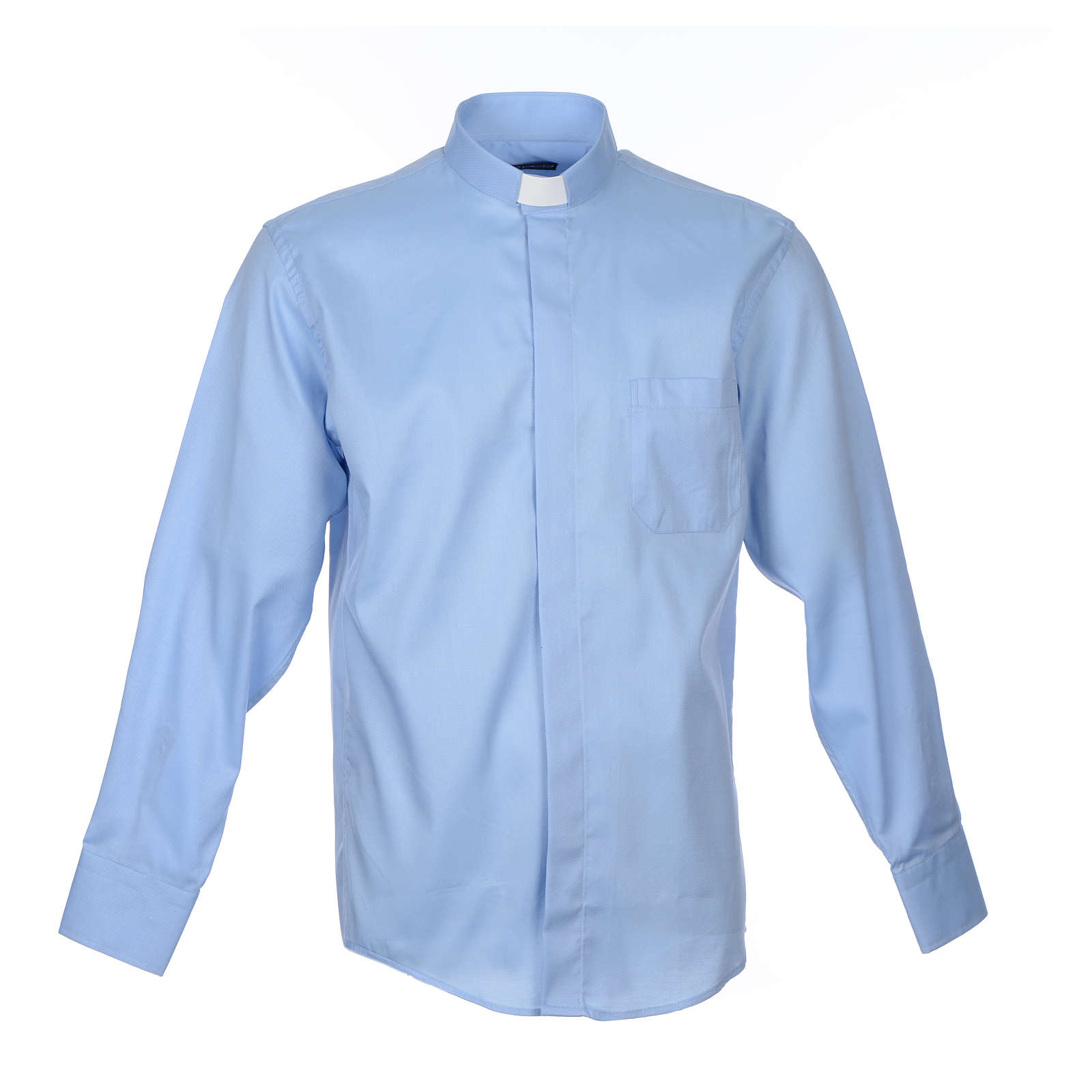 Pastor Long Sleeve Shirt in light blue, easy-iron mixed cotton 4