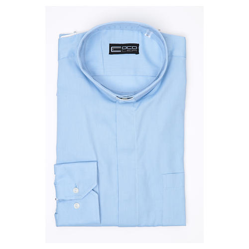 Pastor Long Sleeve Shirt in light blue, easy-iron mixed cotton 3