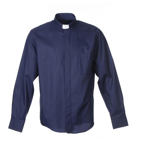 Collarhemd mit Langarm aus leicht zu bügelnden Baumwoll-Polyester-Mischgewebe mit Diagonalmuster in der Farbe Blau 1