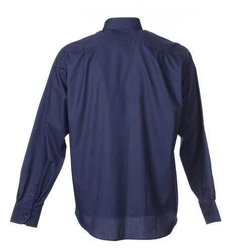 Collarhemd mit Langarm aus leicht zu bügelnden Baumwoll-Polyester-Mischgewebe mit Diagonalmuster in der Farbe Blau 2