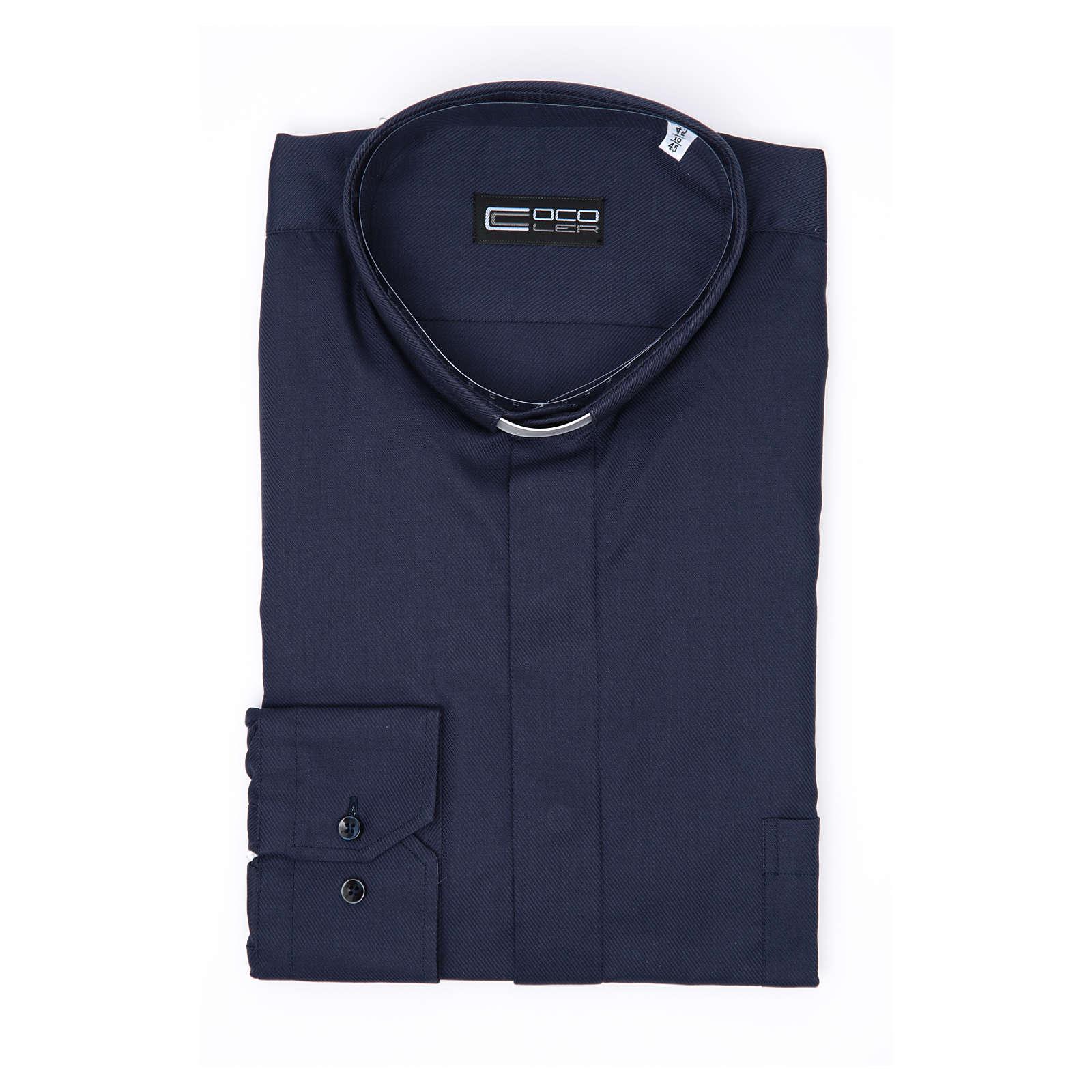 Camisa Clergy Manga Larga Planchado Facil Diagonal Mixto Algodón Azul 4