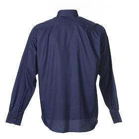 Camisa Clergy Manga Larga Planchado Facil Diagonal Mixto Algodón Azul s2