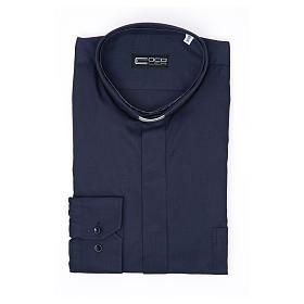 Camisa Clergy Manga Larga Planchado Facil Diagonal Mixto Algodón Azul s3