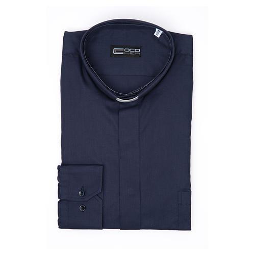 Camisa Clergy Manga Larga Planchado Facil Diagonal Mixto Algodón Azul 3