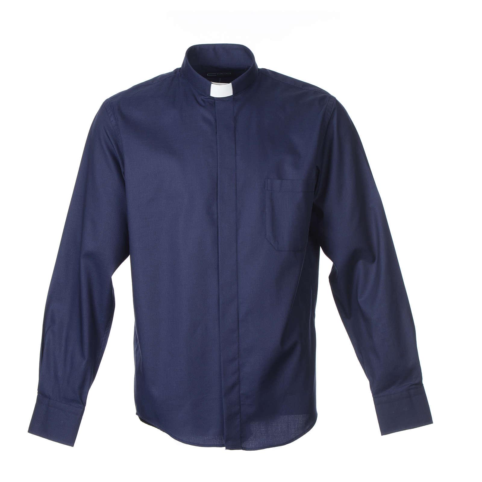 Chemise clergy m. longues Repassage facile Diagonale Mixte coton Bleu 4
