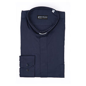 Koszula kapłańska długi rękaw niebieska bawełniana s3