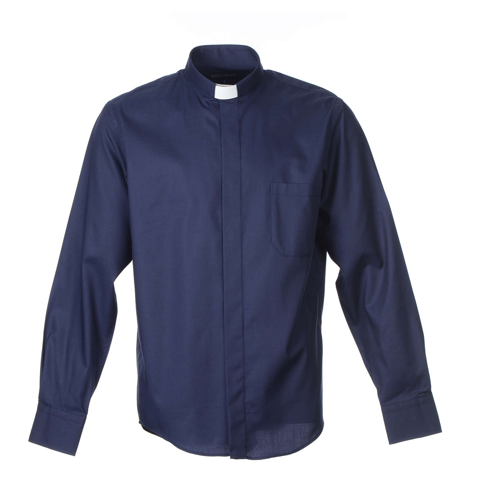 Long sleeve blue mix cotton clergy shirt easy to iron 4