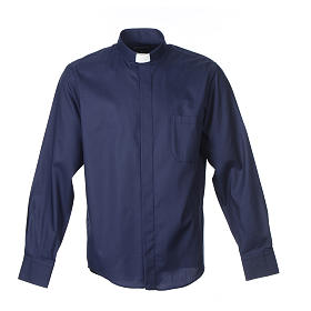 Long sleeve blue mix cotton clergy shirt easy to iron s1