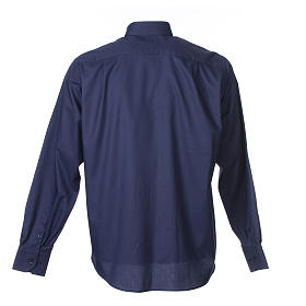 Long sleeve blue mix cotton clergy shirt easy to iron s2