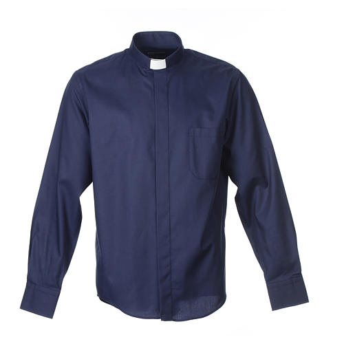 Long sleeve blue mix cotton clergy shirt easy to iron 1