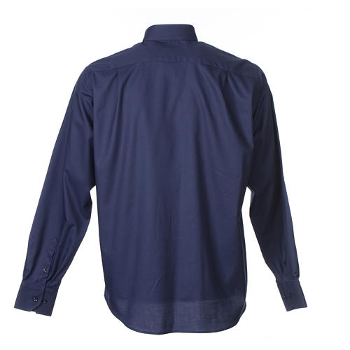 Long sleeve blue mix cotton clergy shirt easy to iron 2