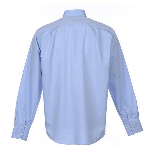Collarhemd mit Langarm aus leicht zu bügelnden Baumwoll-Polyester-Mischgewebe mit Fischgrätenmuster in der Farbe Hellblau 2