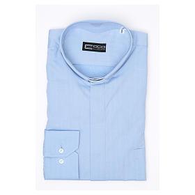 Camisa clergy M/L passo fácil espinha misto algodão azul claro s3
