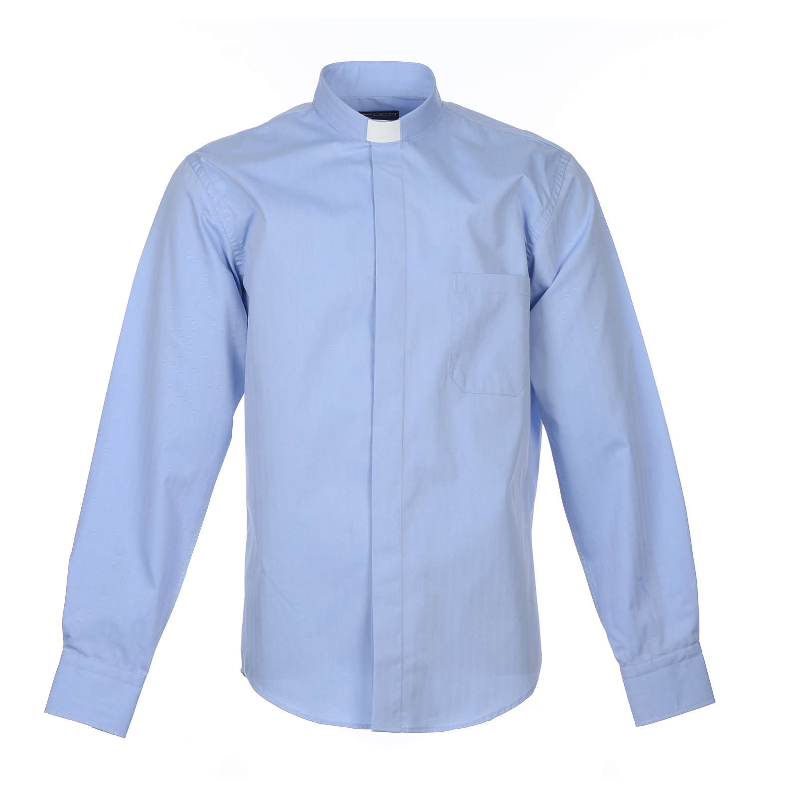 Clergy Light Blue Shirt with long sleeves easy-iron mixed herringbone cotton 4