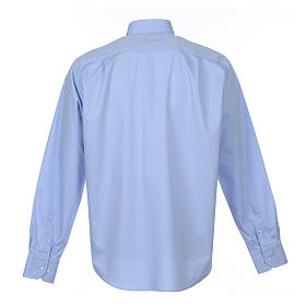 Clergy Light Blue Shirt with long sleeves easy-iron mixed herringbone cotton s2