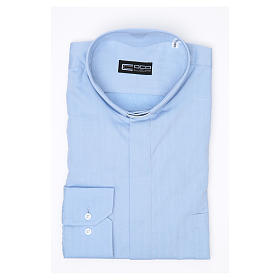 Clergy Light Blue Shirt with long sleeves easy-iron mixed herringbone cotton s3