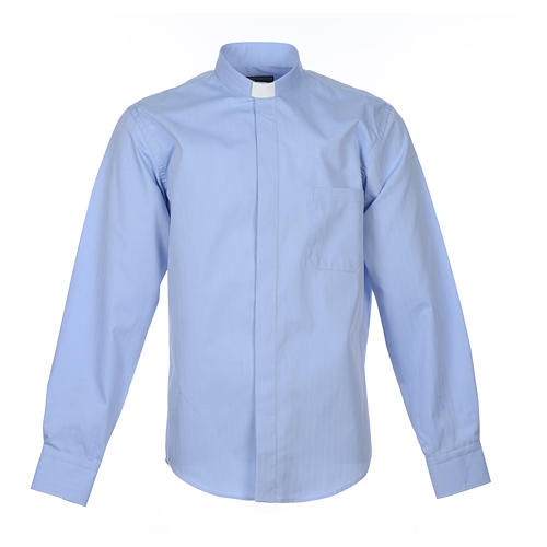 Clergy Light Blue Shirt with long sleeves easy-iron mixed herringbone cotton 1