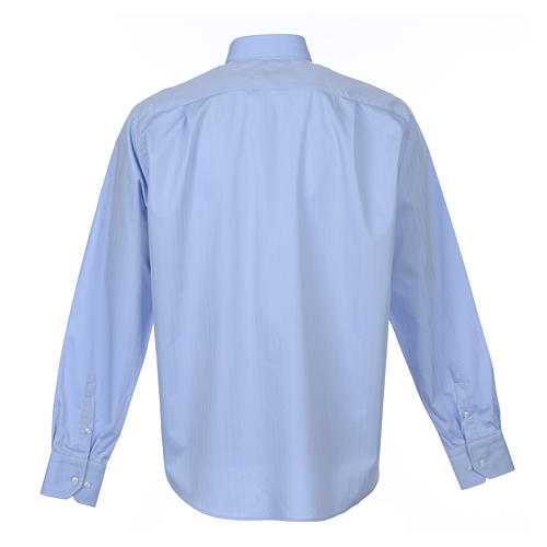 Clergy Light Blue Shirt with long sleeves easy-iron mixed herringbone cotton 2