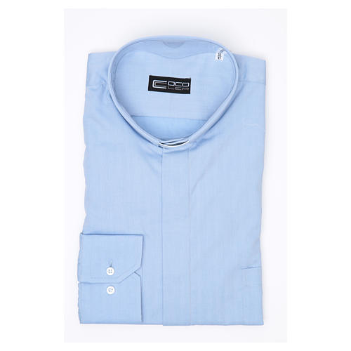 Clergy Light Blue Shirt with long sleeves easy-iron mixed herringbone cotton 3
