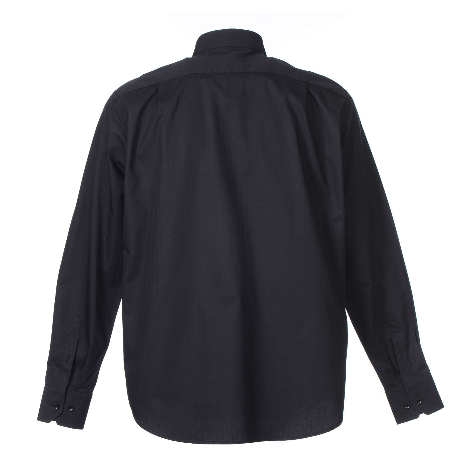 Clergy shirt Long sleeves easy-iron mixed herringbone cotton Black 4
