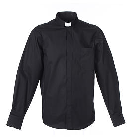 Clerical Shirts and collars: Clergy shirt Long sleeves easy-iron mixed herringbone cotton Black