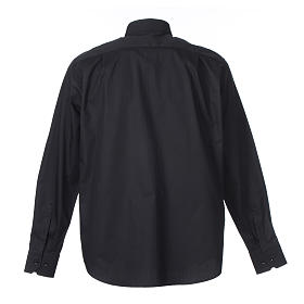 Clergy shirt Long sleeves easy-iron mixed herringbone cotton Black s2