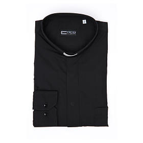Clergy shirt Long sleeves easy-iron mixed herringbone cotton Black s4