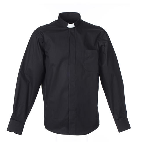Clergy shirt Long sleeves easy-iron mixed herringbone cotton Black 1