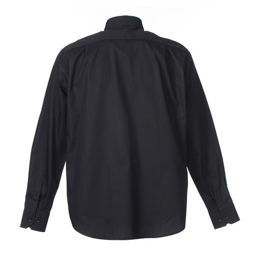 Clergy shirt Long sleeves easy-iron mixed herringbone cotton Black 2