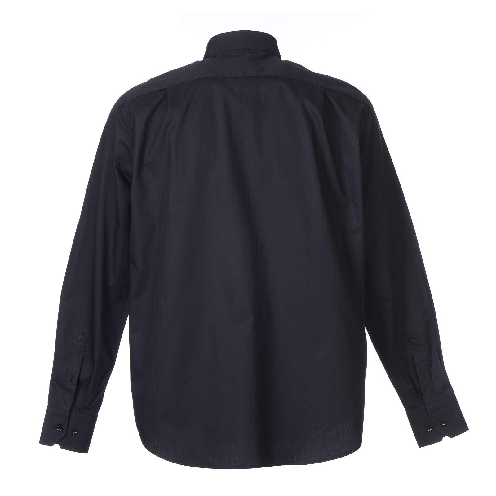Camisa Clergy Manga Larga Planchado Facil, Mixto Algodón Espigado Negro 4