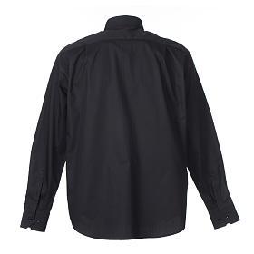 Camisa Clergy Manga Larga Planchado Facil, Mixto Algodón Espigado Negro s2