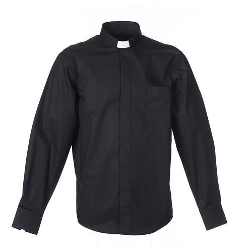 Camisa Clergy Manga Larga Planchado Facil, Mixto Algodón Espigado Negro 1