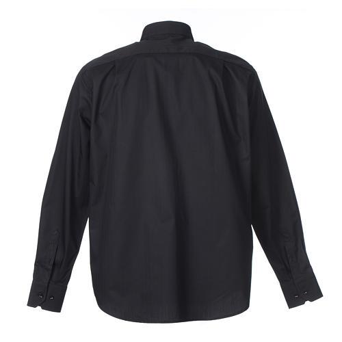 Camisa Clergy Manga Larga Planchado Facil, Mixto Algodón Espigado Negro 2