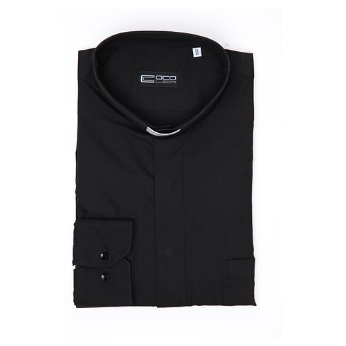 Camisa Clergy Manga Larga Planchado Facil, Mixto Algodón Espigado Negro 3