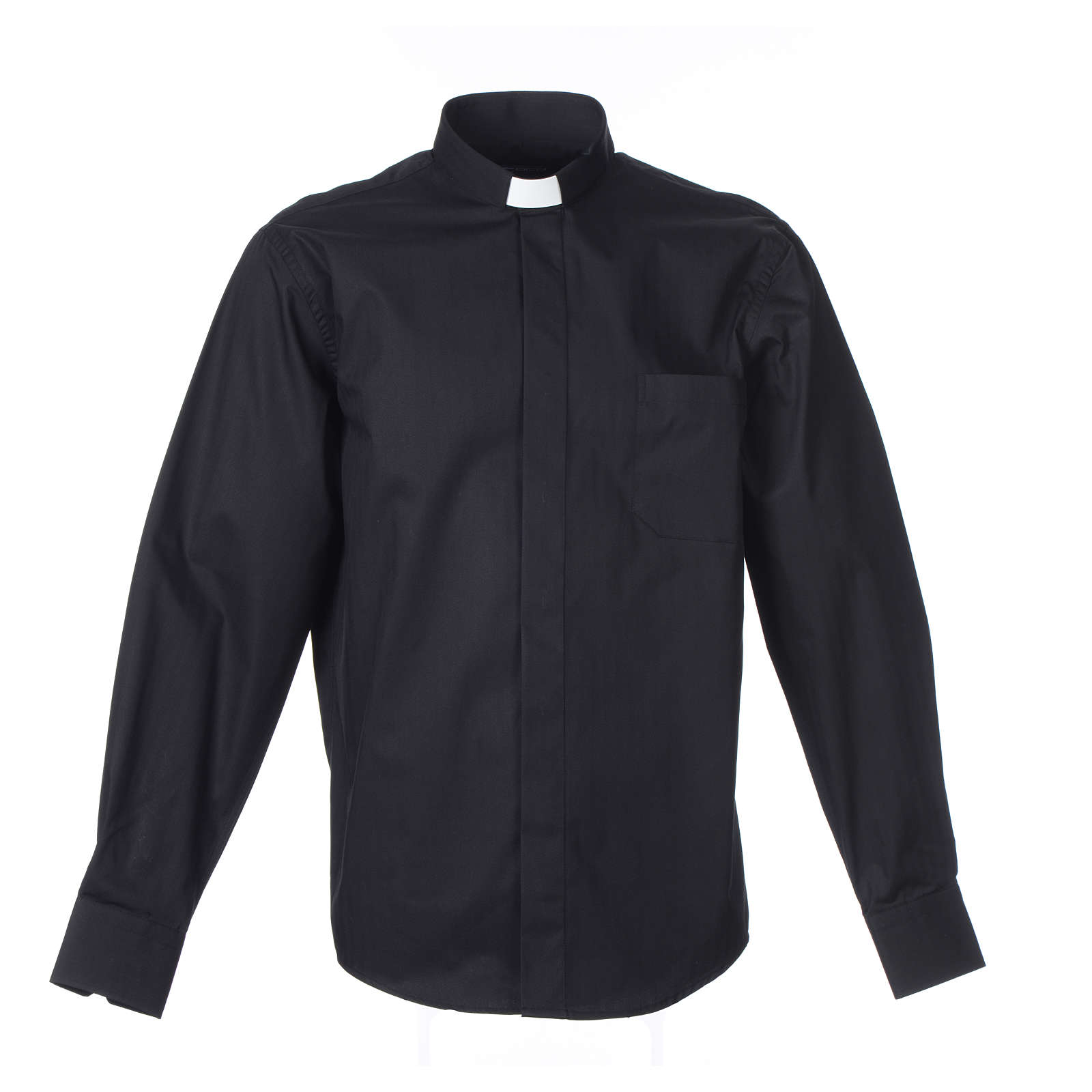 Pastor Long Sleeve Shirt easy-iron mixed herringbone cotton Black 4