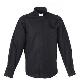 Pastor Long Sleeve Shirt easy-iron mixed herringbone cotton Black s1