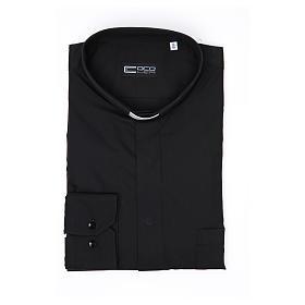 Pastor Long Sleeve Shirt easy-iron mixed herringbone cotton Black s3